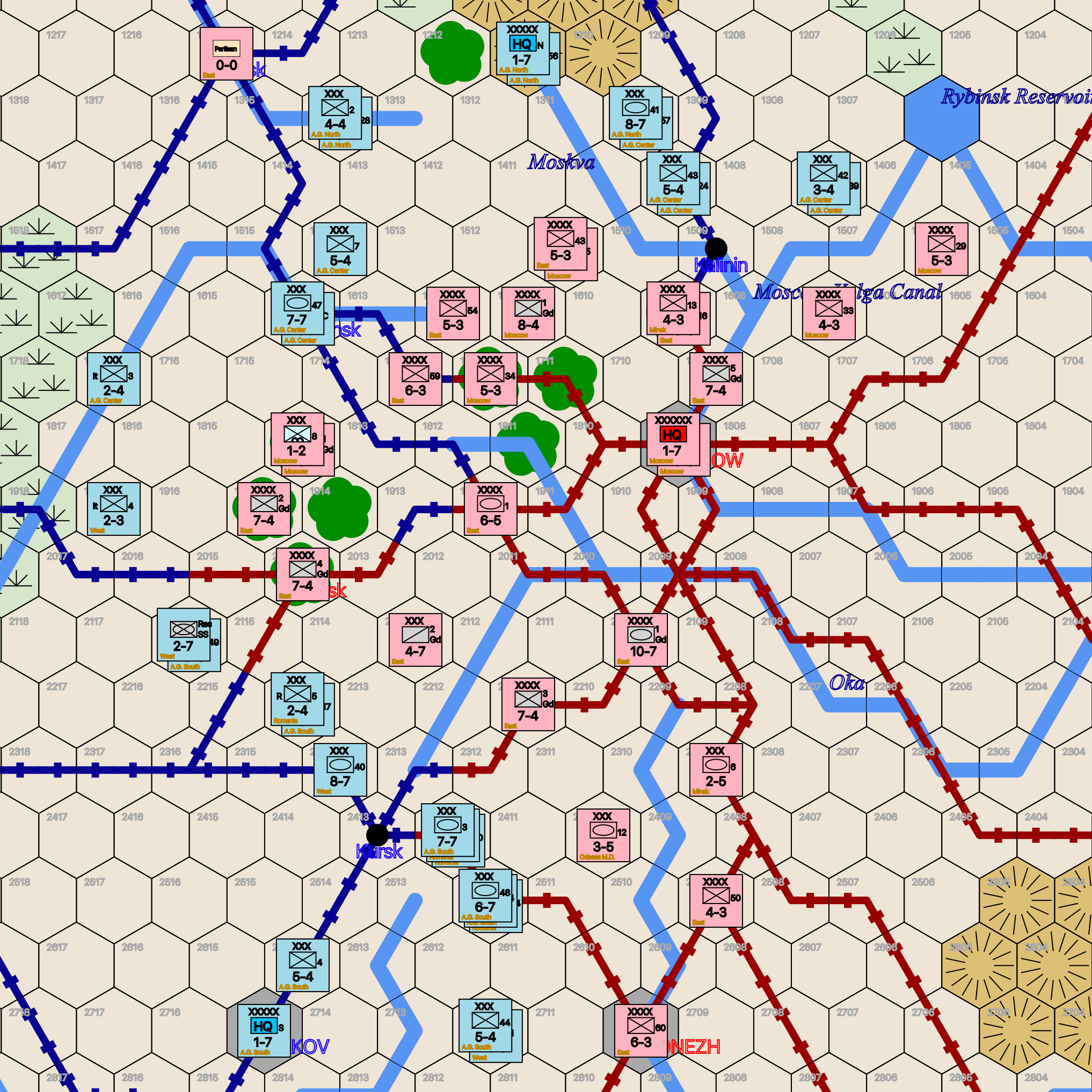 Panzers on the Steppe sample game map excerpt